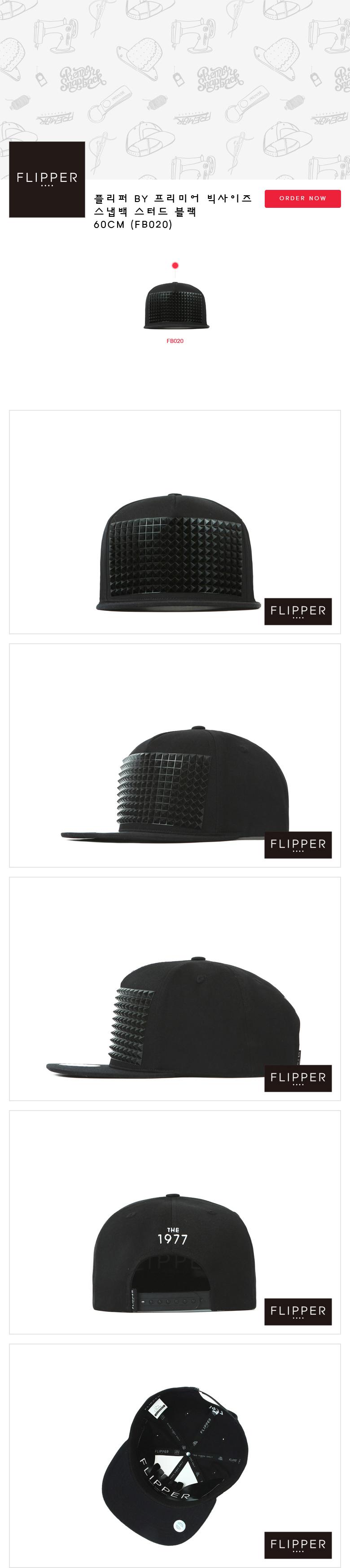 [ PREMIER ] [Premier] Flipper Big Size Snapback Stud Black 60CM (FB020)